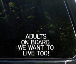adults on board car decal