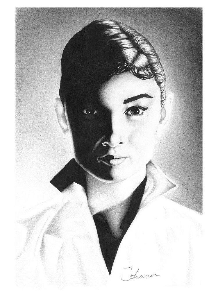 audrey ballpoint portrait