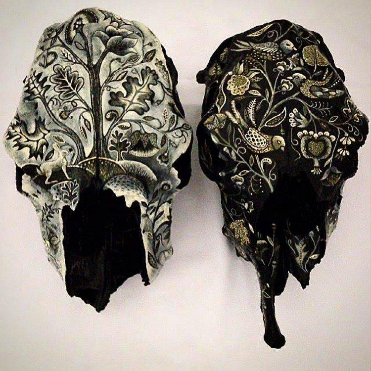 black white embroidery skulls