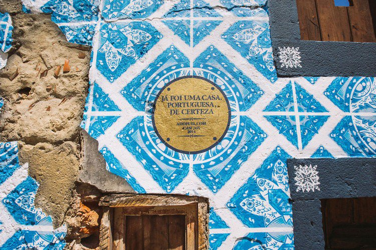 blue mural plaque