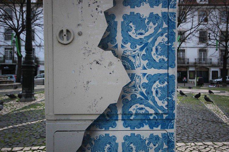 blue tile mural close
