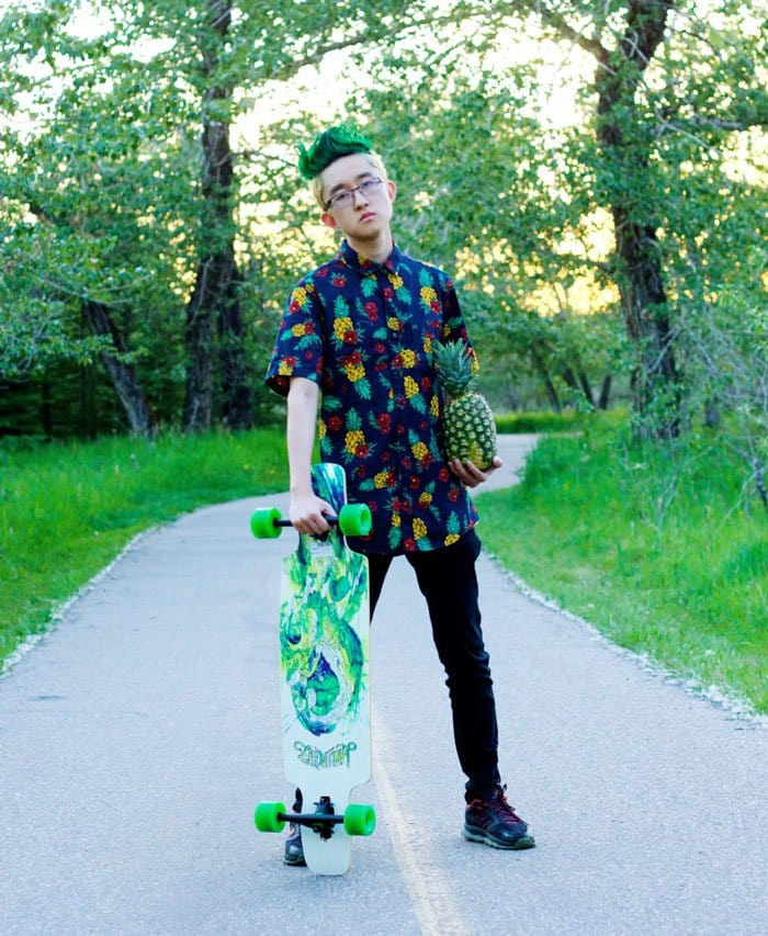 boy skateboard pineapple