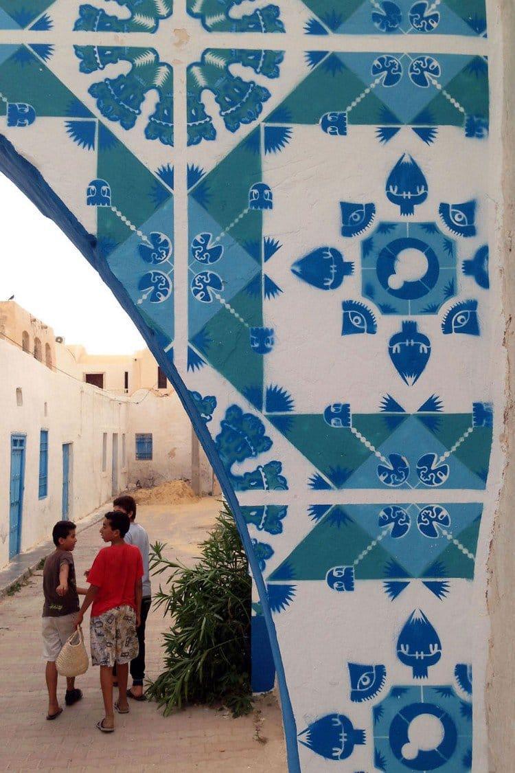 boys mural tiled wall