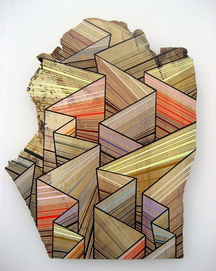 colorful geometric wood