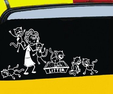 crazy cat lady car decals