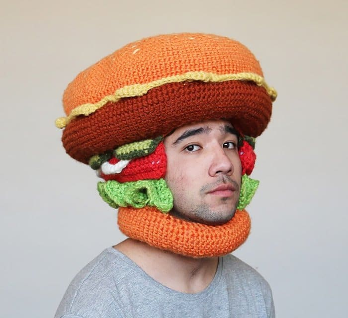 crochet food burger man
