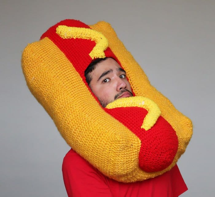crochet hot dog man