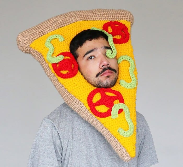 crochet pizza eye man