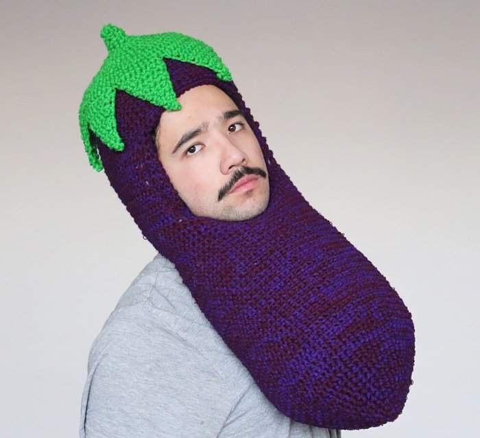 crochet veg hat man