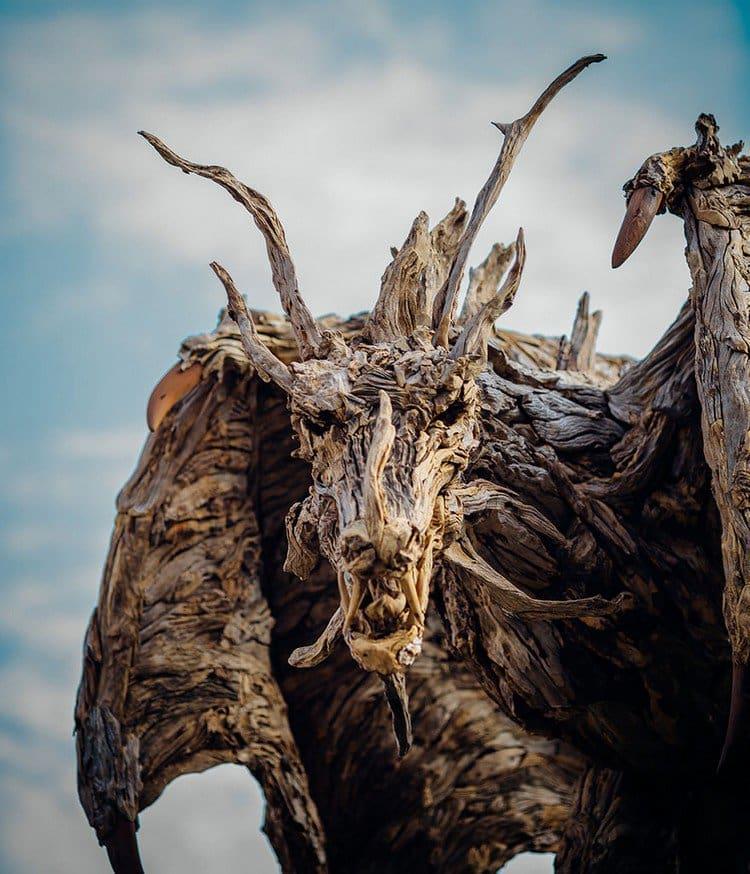 driftwood dragon face