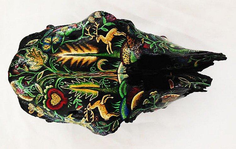 embroidery skull black