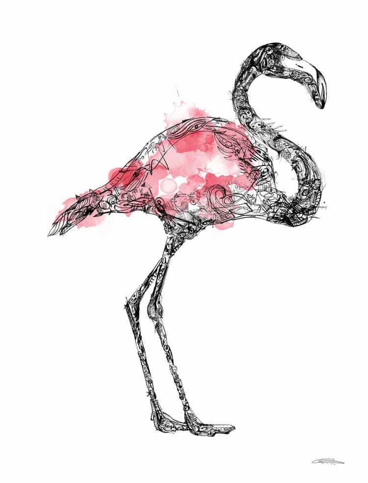 flamingo doodles