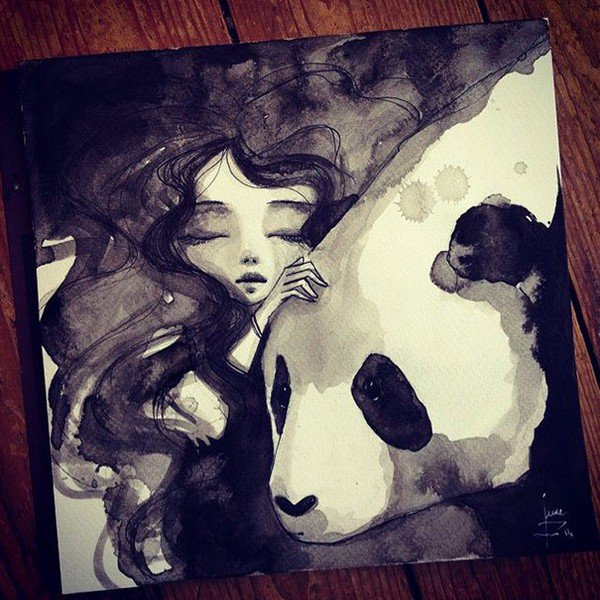 girl stroking panda