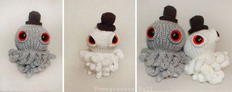 gray white crochet octopus