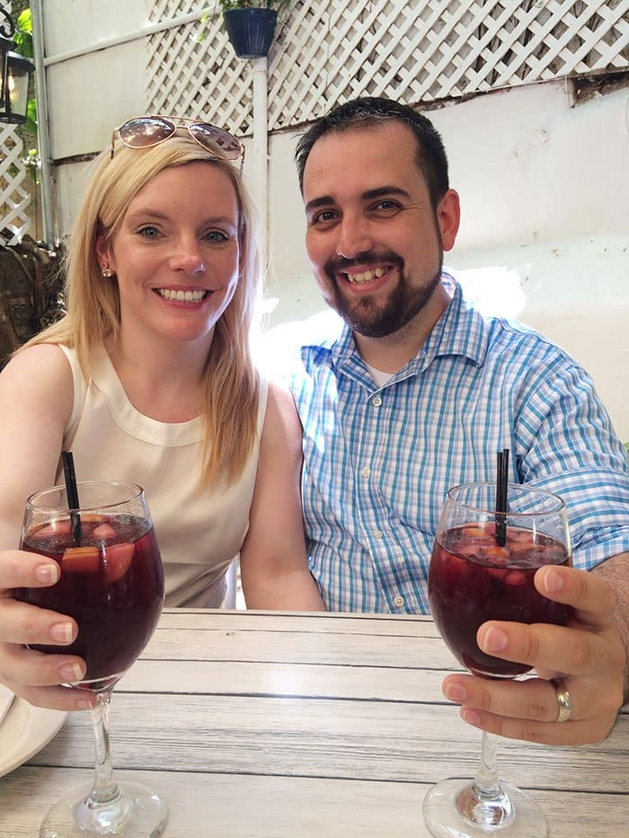 happy couple drinking