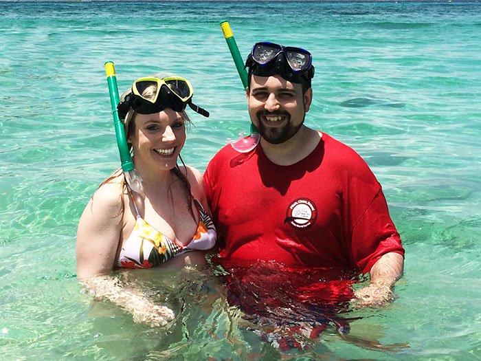 happy couple ocean