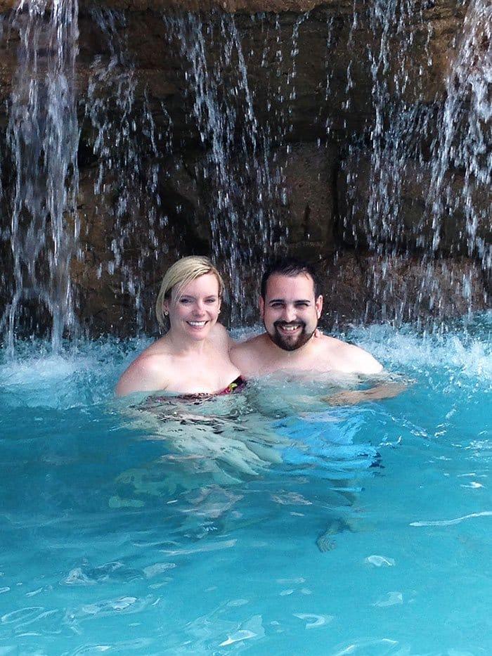 happy couple pool