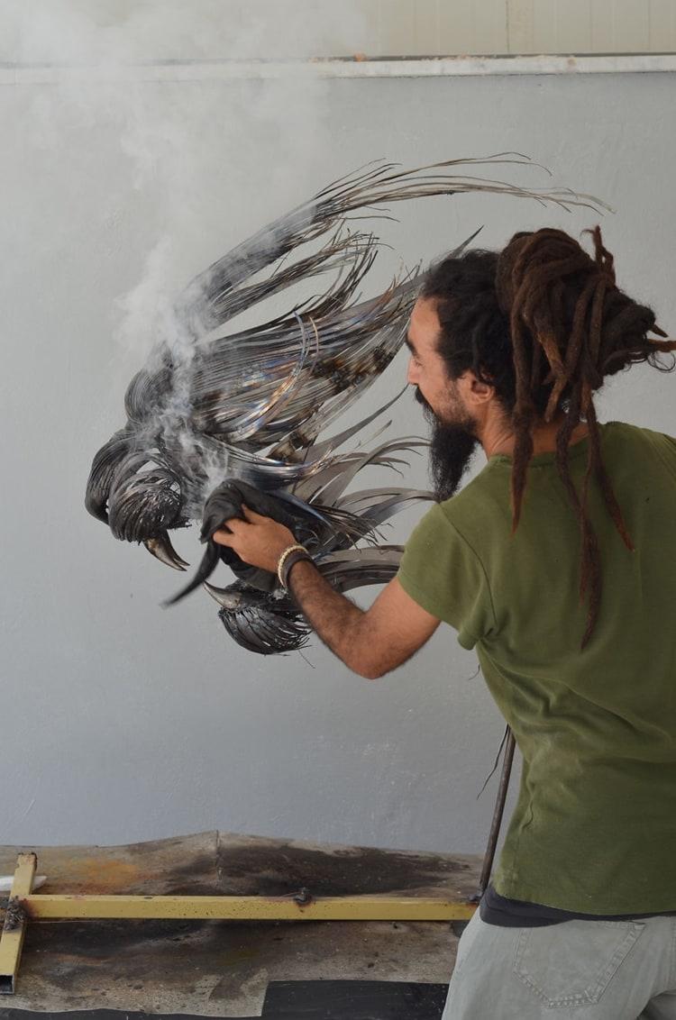 metal-animal-masks-lion-at-work