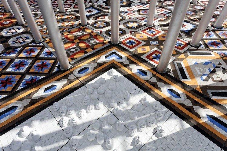 mosaic floor faces