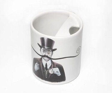 mustache guard mug white