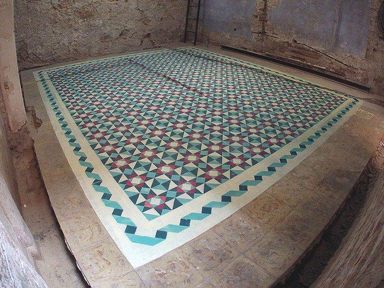 painted tile effect floor