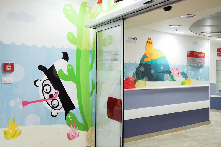 Miki mottes creates colorful murals to decorate this for Character mural