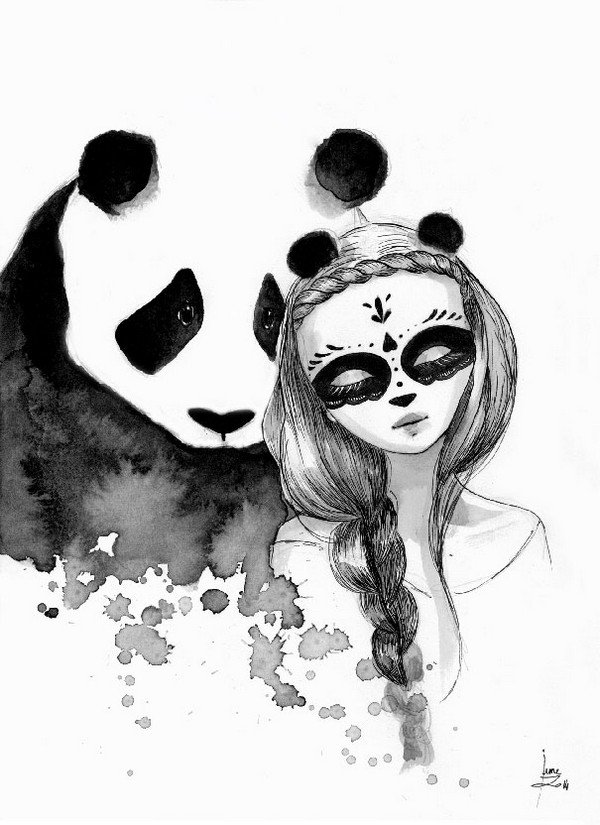It 39 s 39 pandamonium 39 june leeloo paints awesome pandas and maidens - Dessin de chinoise ...