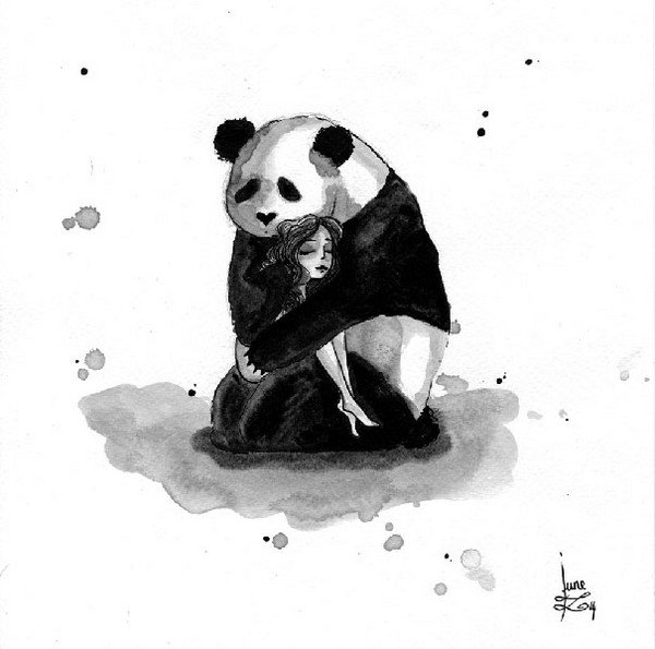 panda holds girl
