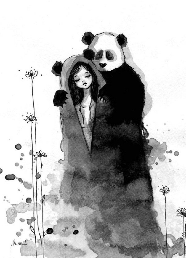 panda hugging girl