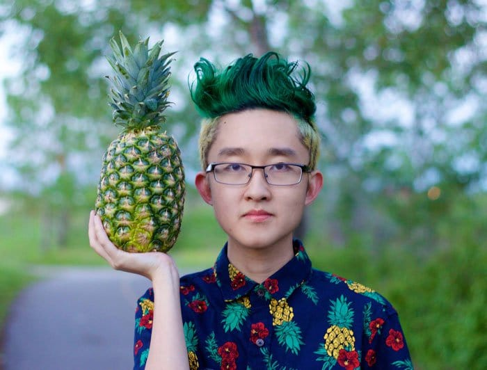 pineapple boy green hair