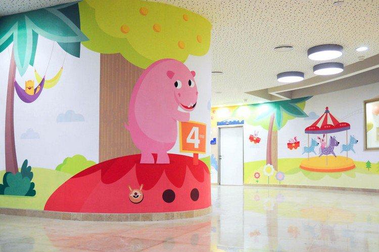 pink animal mural