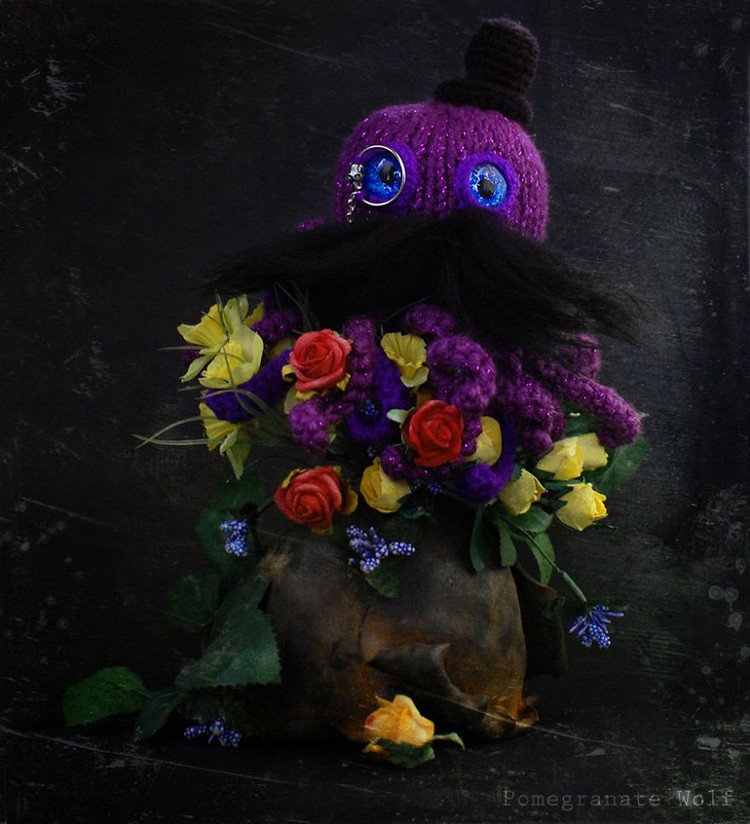 purple crochet octopus flowers