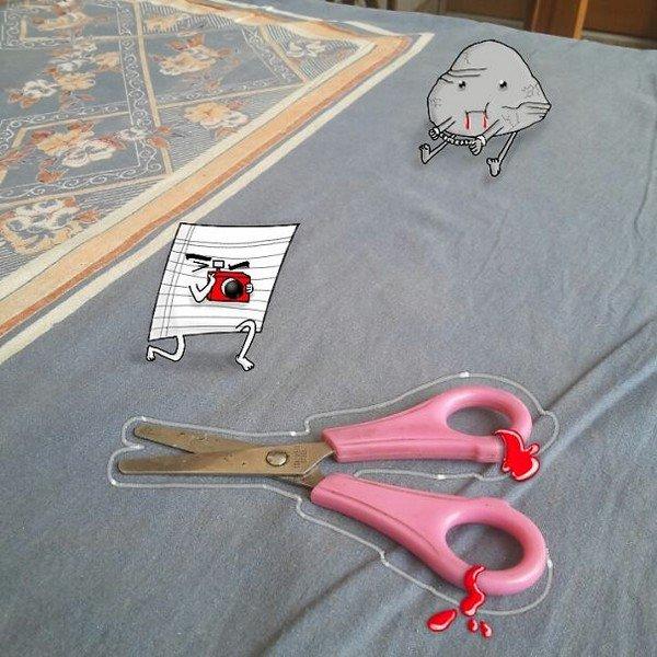 scissors crime scene