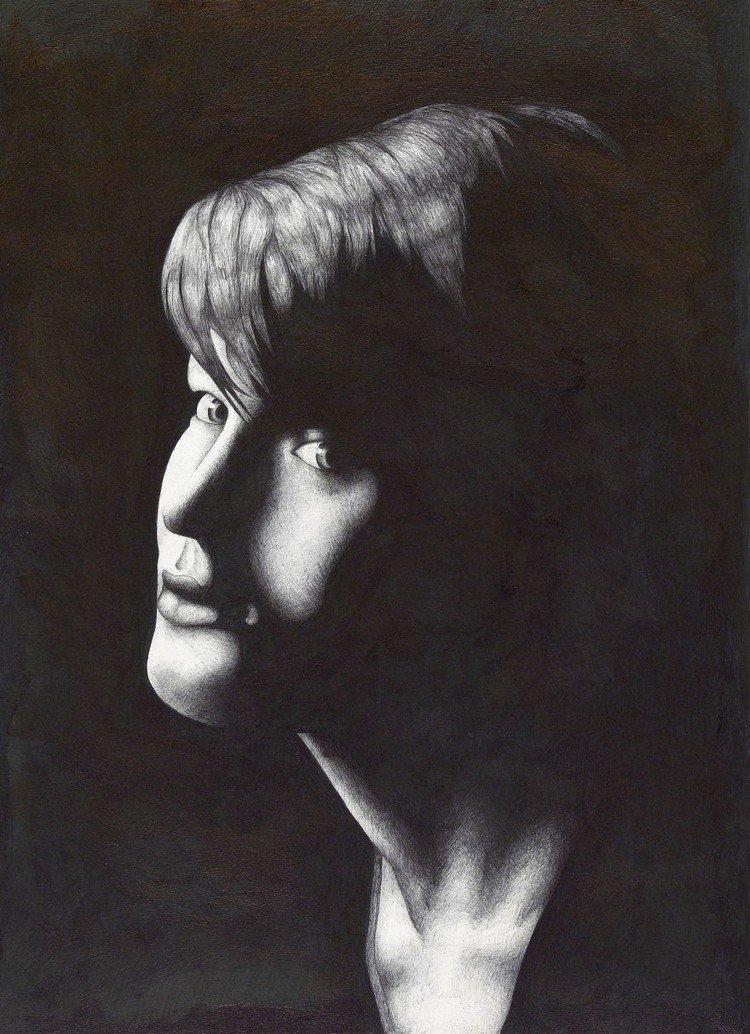 short haired woman ballpoint portrait