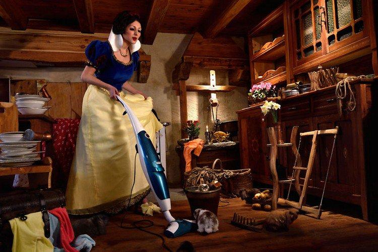 snow white vacuuming