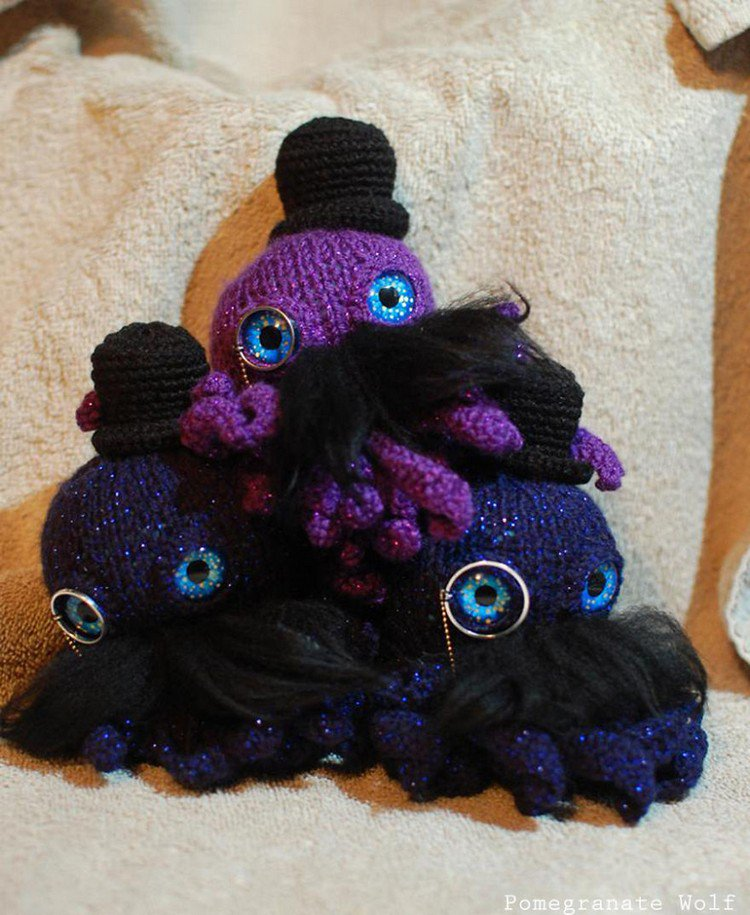 sparkly pile crochet octopus