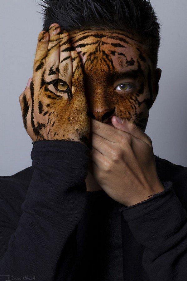 tiger man head shoulders