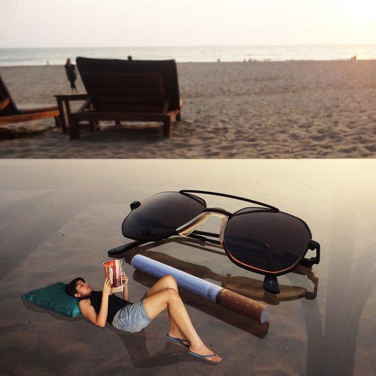 tiny woman giant cigarette sunglasses