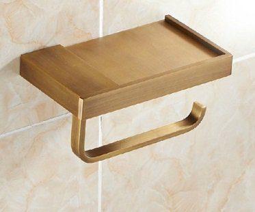 toilet roll holder with shelf brass