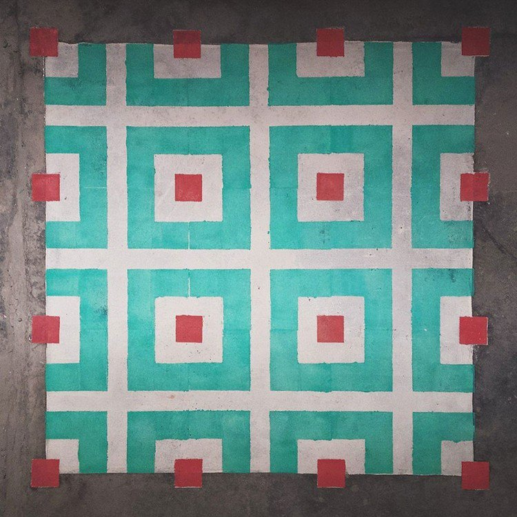 turquoise red squares