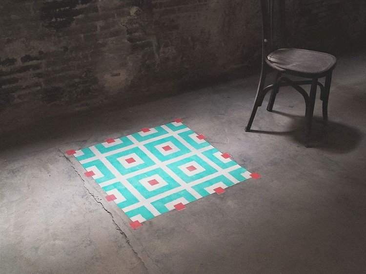 turquoise square pattern