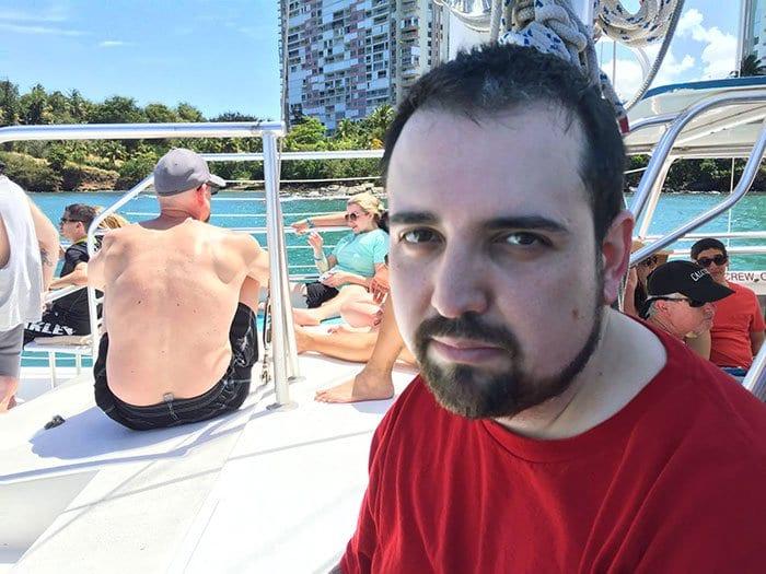 unhappy man boat