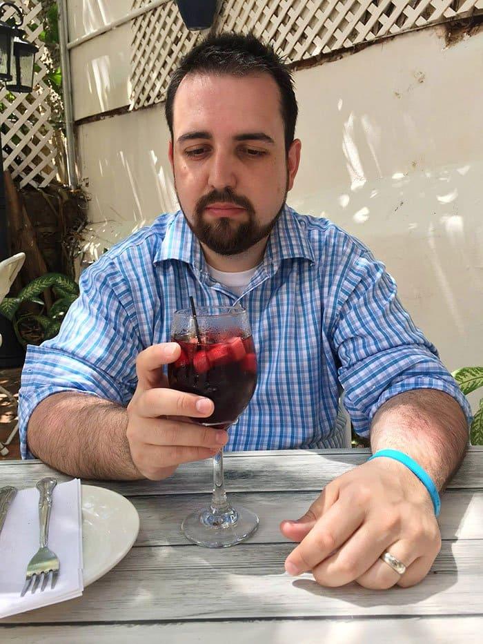 unhappy man drinking