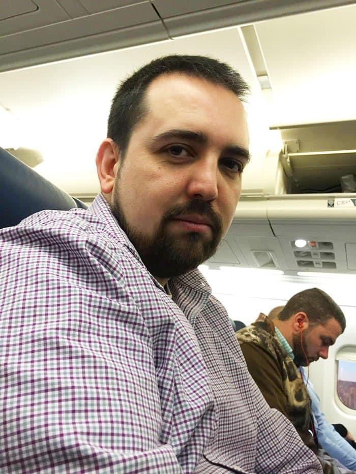 unhappy man plane