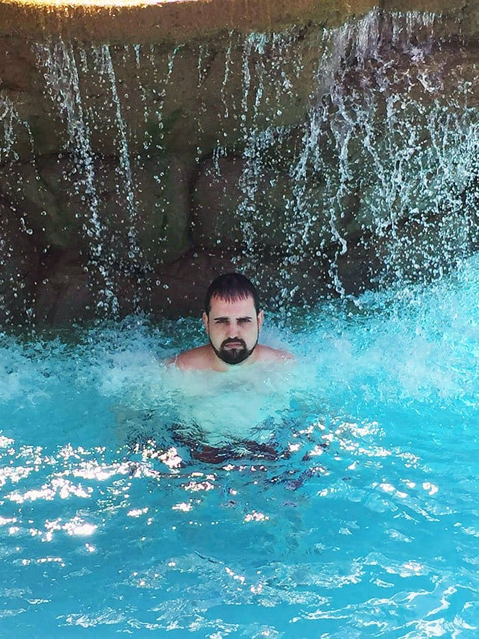 unhappy man pool