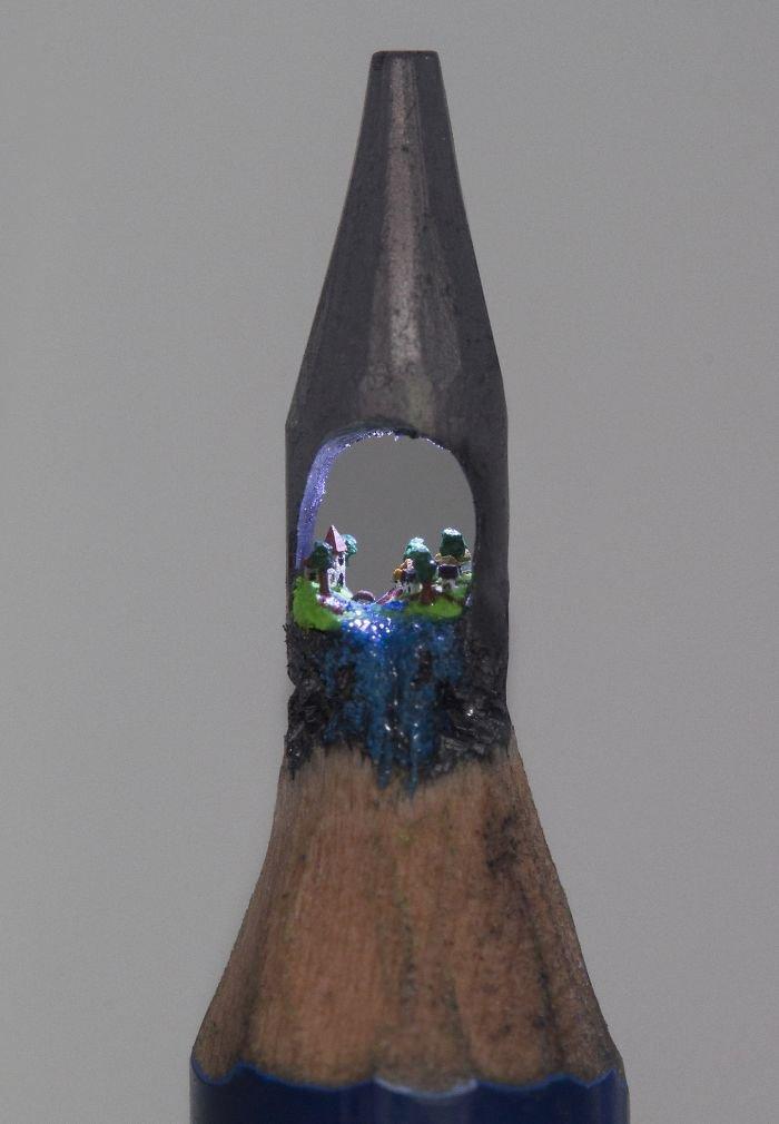village moonlight pencil carving