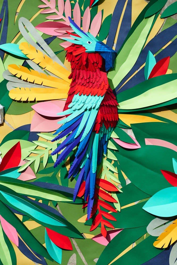 vividly colored paper parrot
