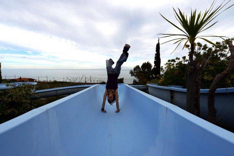 waterslide handstand