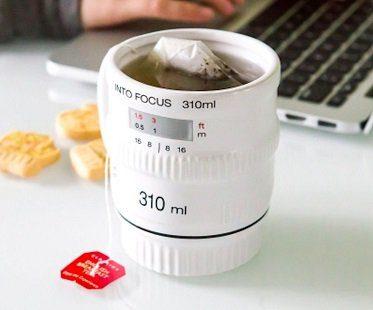 white camera lens mug
