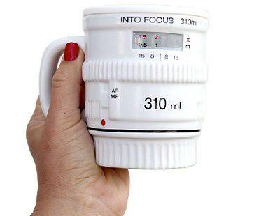 white camera lens mug coffee